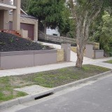 Retaining walls that store rain water.